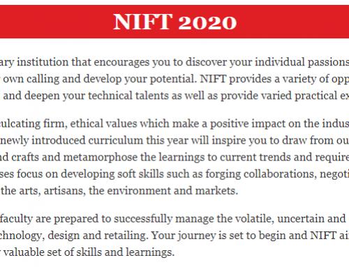 NIFT 2020: Application Form, Eligibility, Exam Dates, Pattern, Syllabus, Preparation, Coaching Center, Book.